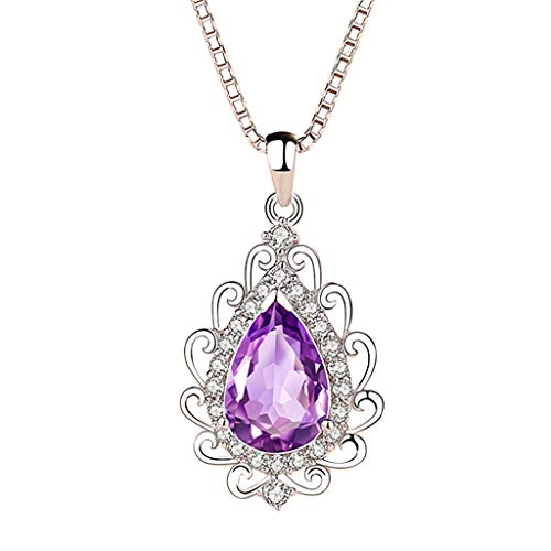 Fenleo Women Natural Amethyst Silver Drops High-end Necklace Silver Pendant