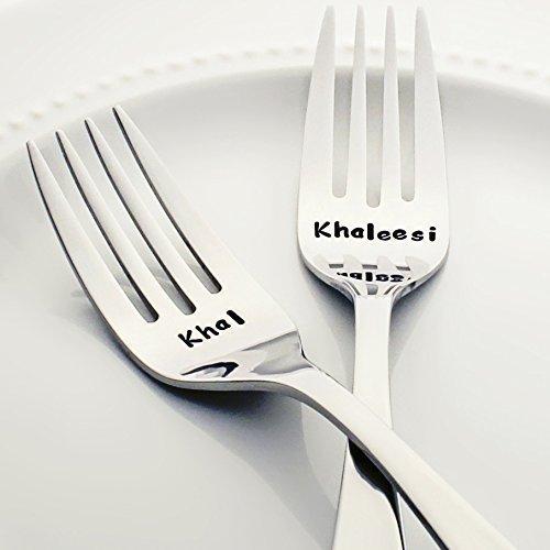 Game of Thrones Valentine's Day Gift: Khal / Khaleesi - Stainless Steel Stamped Fork Set, Stamped Silverware - Geek Kitchen Accessories - Geek Wedding Forks