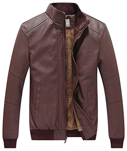 Fashion Leather Jacket (WenVen Men's Winter Fashion Faux Leather Jackets (Brown, Medium))