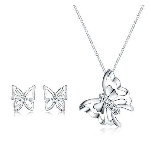 Majesto Jewelry Set – Butterfly Necklace Pendant Stud Earrings for Women Mom Teen Girl - Fashion Prime Gift 18K Gold Plated Butterfly Sterling Silver Jewelry Set