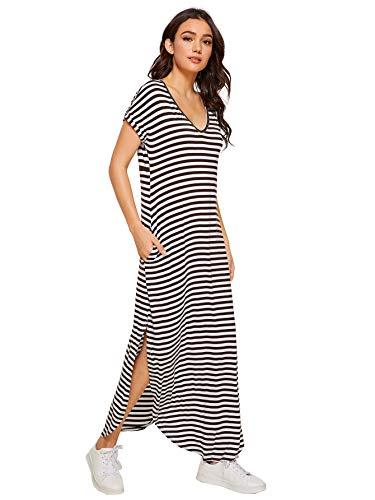 Verdusa Women's Casual V Neck Side Split Beach Long Maxi Dress Brown&White -