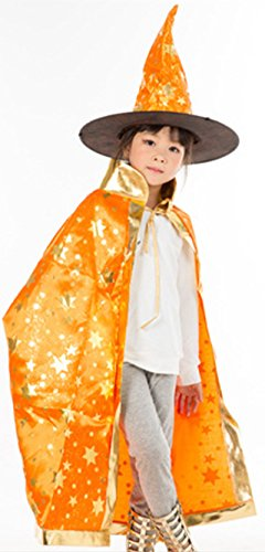 Cloak Length 82cm Children Suit Orange Star Pattern Cloak Wizard Hat