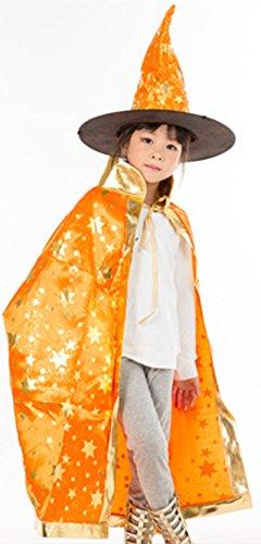 [Cloak Length 82cm Children Suit Orange Star Pattern Cloak Wizard Hat] (Angel And Demon Costumes)