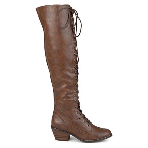 Brinley Co. Womens Blitz Faux Leather Regular and Wide Calf Over-The-Knee Lace-up Brogue Boots Brown, 9 Wide Calf US (Brown Wide Calf Boots Size 9)