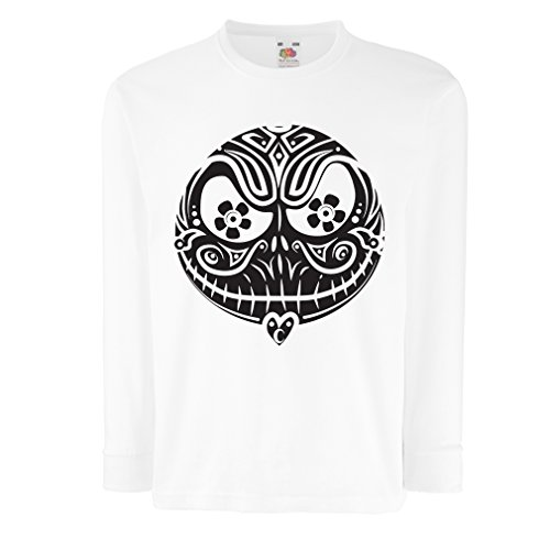 T-Shirt for Kids The Skull Face -The Nightmare - Scary Halloween Night (3-4 Years White Multi -