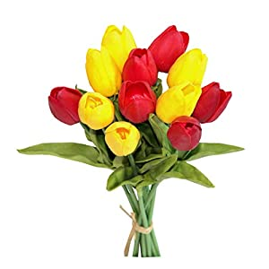 """Mandy's 12pcs Yellow and red 14"""" Silk Artificial Tulips Flowers for Party Home Decoration 10"""