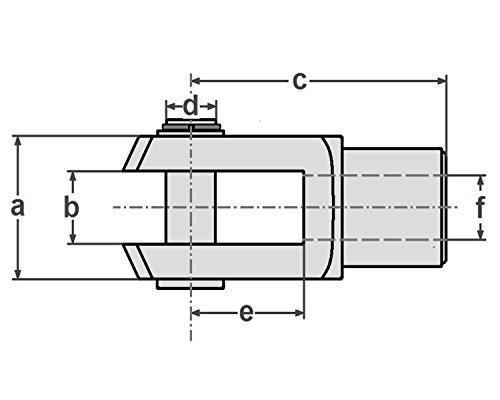 5 St/ück DIN71752 M10 mit Splintbolzen Gabelkopf 10x20 verzinkt