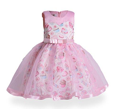 ZHBNN Girl Toddler Wedding Birthday Party Formal Dress (Pink,110/3-4Y) - Toddler Holiday Dresses