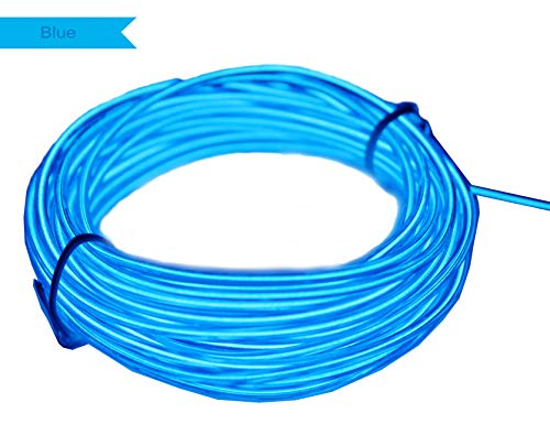 Amicc El Wire 5m 15ft Blue Neon Light Neon Glowing Strobing Electroluminescent Wire for Cosplay Dress Halloween Christmas Party Decoration ()