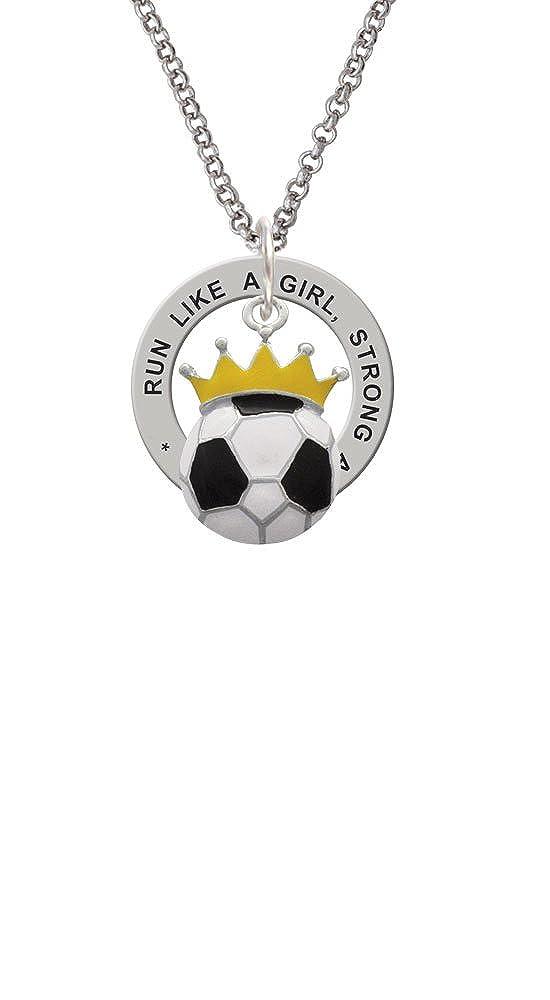 Balón de fútbol - Corona - Run como una niña AFIRMACIÓN Anillo ...
