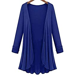 LisYOU Womens Kimono Cardigans Solid Blouse Irregular Wrap Casual Coverup Tops(2XL,Blue)