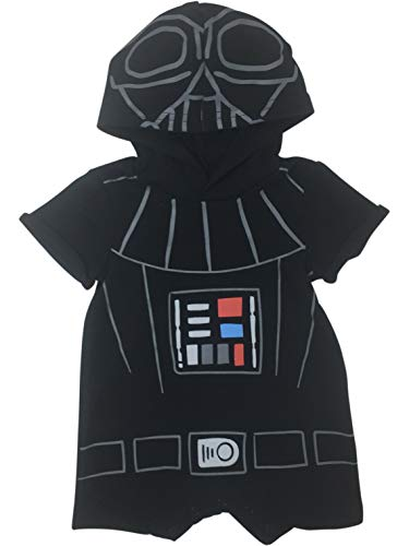 Star Wars Darth Vader Infant Baby Boys Hooded Romper Costume Outfit 6-9 -