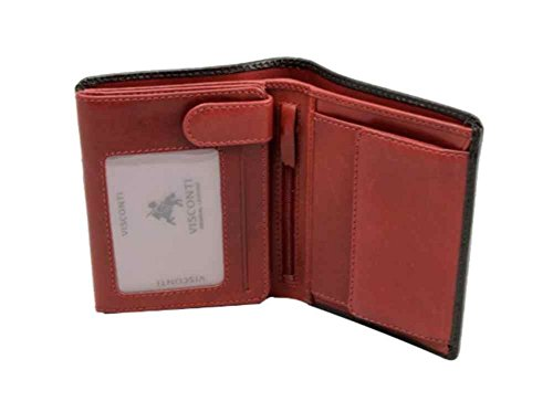 Visconti TR-34 Classic Tri Fold Wallet Passcase / ID Wallet made of Veg Tan Leather (Black/ Red)