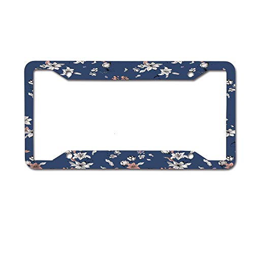 Mrsangelalouise Retro Flannel Flower Blue Background License Plate Frame Aluminum Car License Plate Cover Tag 4 Holes and Screws