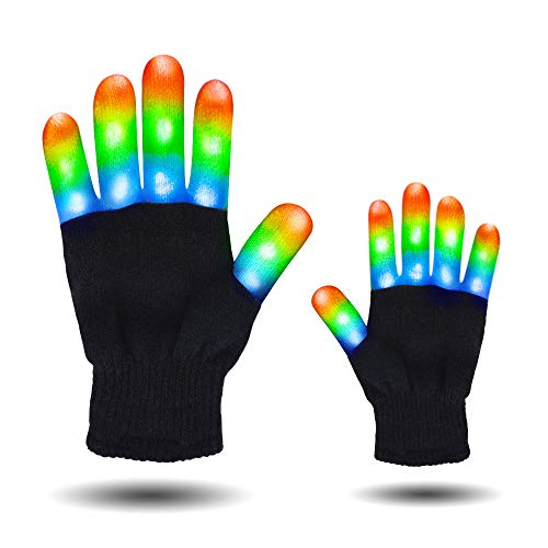 HITOP Led Party Gloves, Finger Light Up Flashing Gloves Party Costume Glow Toys, Christmas Birthday Gift(9.4 for Age 10+)