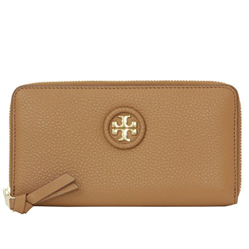 Tory Burch Wallet Zip Around Wallet Whipstitch TB Logo Leather (Bark) by Tory Burch