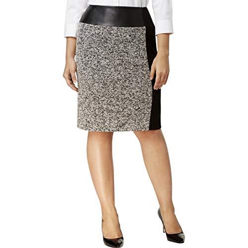 Calvin Klein Womens Plus Tweed Mixed Media Pencil Skirt Black ()