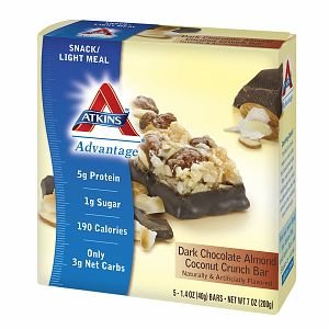 Atkins Advantage Snack Bars, 5 pk, Dark Chocolate Almond Coconut Crunch 1.4 oz pack of 3