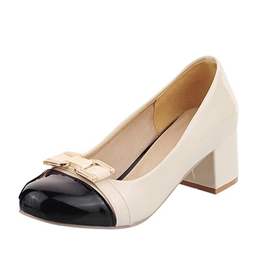 Assorted Elegant Round Shoes Toe Heel Women's Carolbar Color Bow Block Black Court Sqw1n56