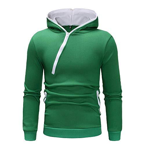 QBQCBB Men Splicing Zipper Color Pullover Long Sleeve Hooded Sweatshirt (Green,L) ()
