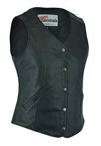 Ladies Motorcycle Riding Stylish Longer Body 3/4 Leather Vest (L)