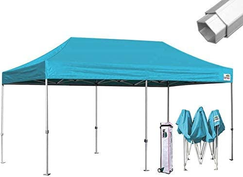 Eurmax Pro 10×20 Pop Up Canopy Wedding Party Tent Instant Outdoor Gazebo Pavilion Canopies BBQ Cater Events Aluminum Frame Commercial Grade Bonus Roller Bag Turquoise