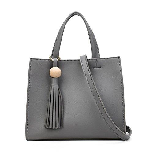 NVBAO Borsa a tracolla diagonale di cuoio dell'unità di elaborazione delle borse di modo della borsa della spalla delle donne grey
