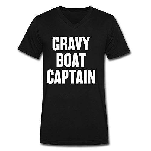 Maroon Gravy Boat - Bennett11 Men Gravy Boat Captain Short Sleeve Crew Neck T Shirt Tees Blouse