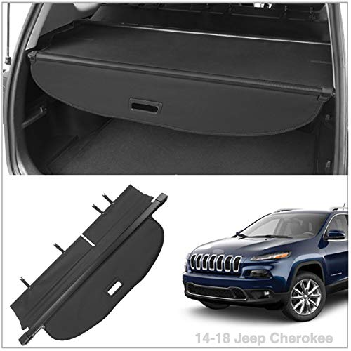 Autoxrun Cargo Cover Fits 2014-2018 Jeep Cherokee Trunk Shielding Shade Black