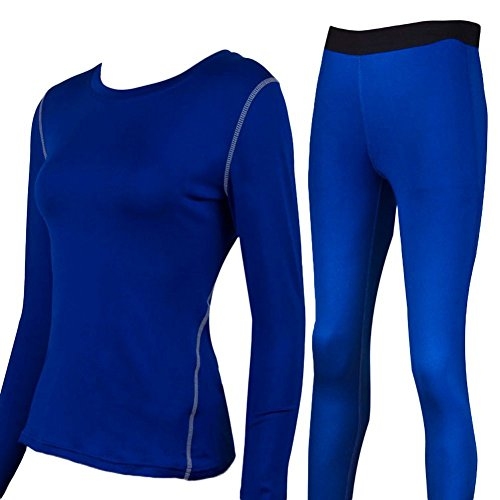 Liveinu Women's Activewear 2-Piece Set Fitted Top and Bottom Blue S