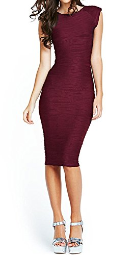 Taydey Women's Midi Dresses Sleeveless Knee Length Party Evening Dress, Small, Burgundy