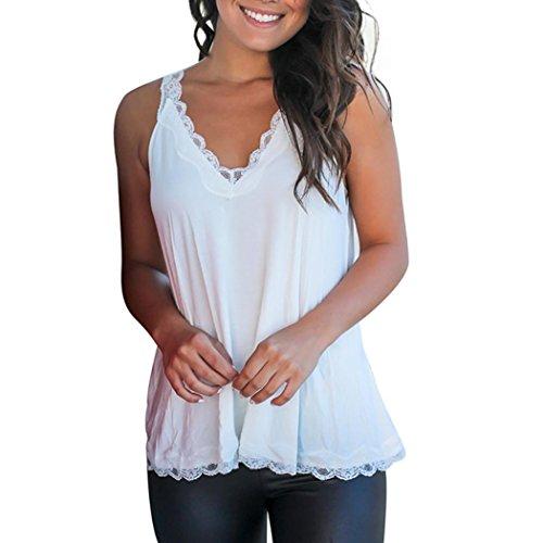 Kanzd Women Ladies Lace Strapless Sleeveless Vest Tank Blouse Pullover Tops Shirt (XL, White) - Gap Turtleneck