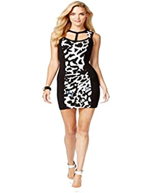 Guess Contrast Cutout Bodycon Dress XL Crystal Leopard Desert Falls
