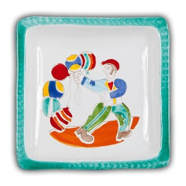 Ceramic Desimone Square Plate - Palloncini - Handmade in Sicily (De Simone Italian Pottery)
