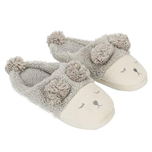 xhorizon TM FL1 Women Girls Sheep Warm Plush Soft Sole Indoor Slipper Grey (Open-back)