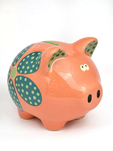 Pink Flower Bank (Large Money Saving Piggy Bank, Pink Flowers' Hand Made & Hand Painted, Premium Ceramic, Gift Box Included)