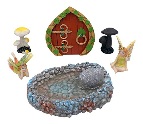 Collectibles and Video Inc. Fairy Garden Accessories 6 Piece Set - Fairy Door, Fairy Garden Pond, Mushroom Figurines & Fairy Figurines - Make Enchanted Fairy Garden House for Fairies or -