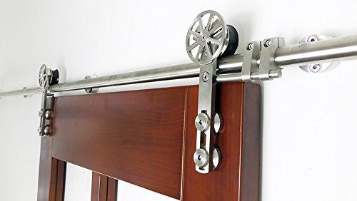 DIYHD 6FT stainless steel sliding barn wood door hardware movable spoke wheel brushed barn door sliding track kit by DIYHD (Image #2)