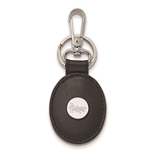 - University of Nebraska Huskers Black Leather Oval Key Ring (Sterling Silver)