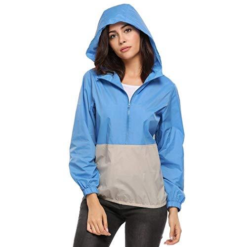 Mujer Huixin Prendas Para Outdoor And Capucha Aire Gray Ligera Montar Caballo Cremallera Abrigo Libre Con Lluvia Impermeable Al Blue Chaqueta A Moda De 6Xnrn1
