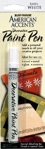 Rust-Oleum 215153 American Accents Satin Decorative Paint Pen, White, 1/3-Ounce ()