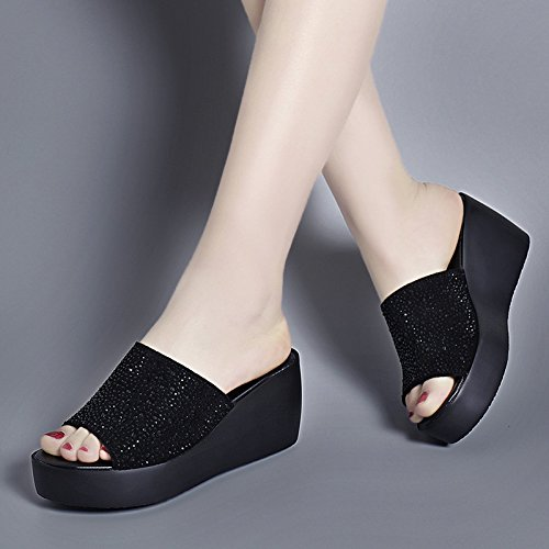 Luce nera pendenza Raffreddare pantofole spesse piatte Qingchunhuangtang ciabattine con sandali wT8BzqR