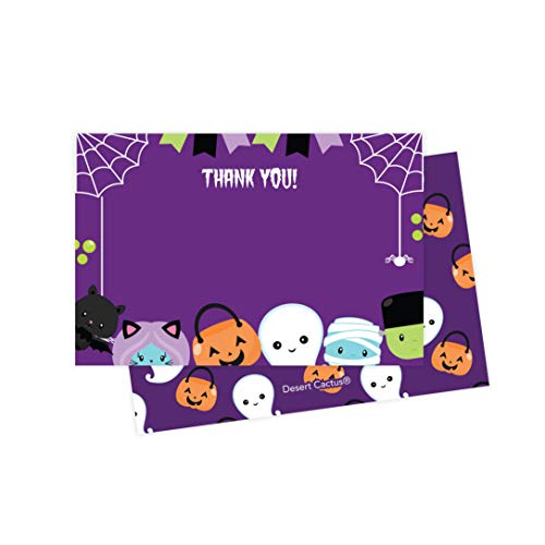 Halloween Thank You Cards (25 Count) With Envelopes & Seal Stickers Bulk Birthday Party Bridal Blank Graduation Kids Children Boy Girl Baby -