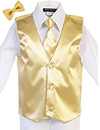 Boys Satin Hand Made Long Tie & Vest Set (Free Bow Tie)