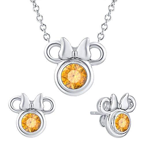 tusakha Cute Mini Mouse .925 Sterling Silver Citrine Earring Pendant Set for Girl's ()