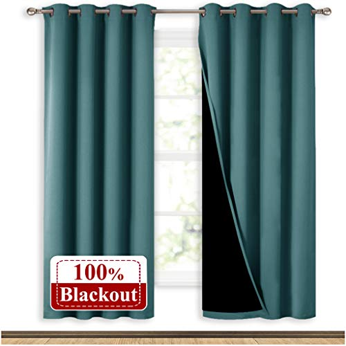 NICETOWN Full Shade Curtain Panels, Pair of Energy Smart & Noise Blocking Out Blackout Drapes for Apartment Window, Thermal Insulated Guest Room Lined Window Dressing(Sea Teal, 52 x 72 inch) (Curtains Lined Teal)