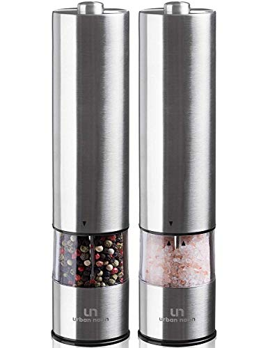 Electric Salt and Pepper Grinder Set - Battery Operated Stainless Steel Mill...
