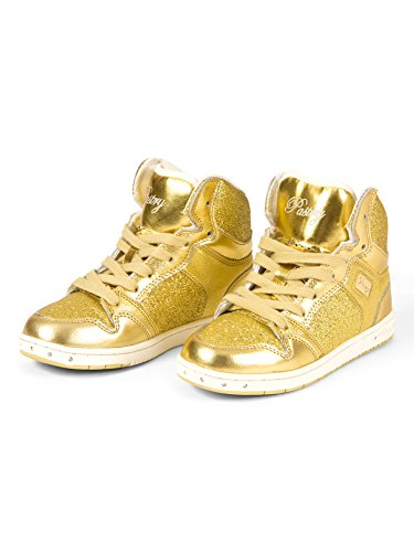 """Adult """"Glam Pie"""" Glitter Gold Sneakers,PA133021GLD07.0,Gold,07.0"""