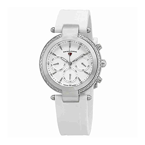 Swiss Legend Women's 'Madison' Swiss Quartz Stainless Steel and Silicone Casual Watch, Color White (Model: 16175SM-02-WHT)