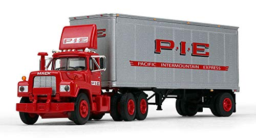 - First Gear 1/64 Scale Diecast Collectible Pacific Intermountain Express (P.I.E) Mack R with 28' Pup Trailer (#60-0266)